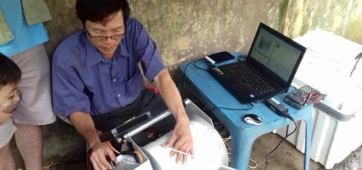 Operating the camera and viewing the inside of  the well on a laptop.